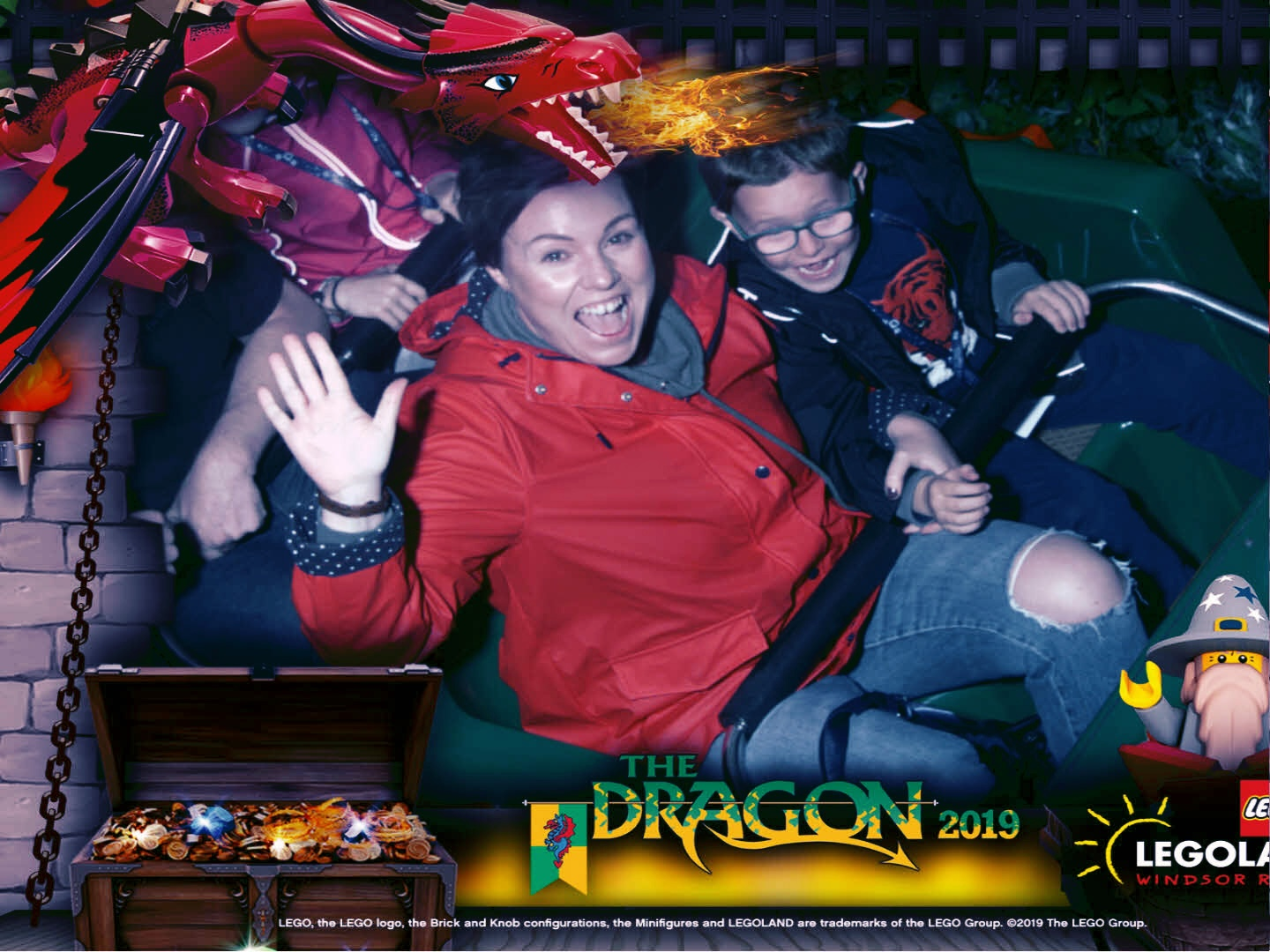 Riding the Dragon, our favourite rollercoaster at Legoland.