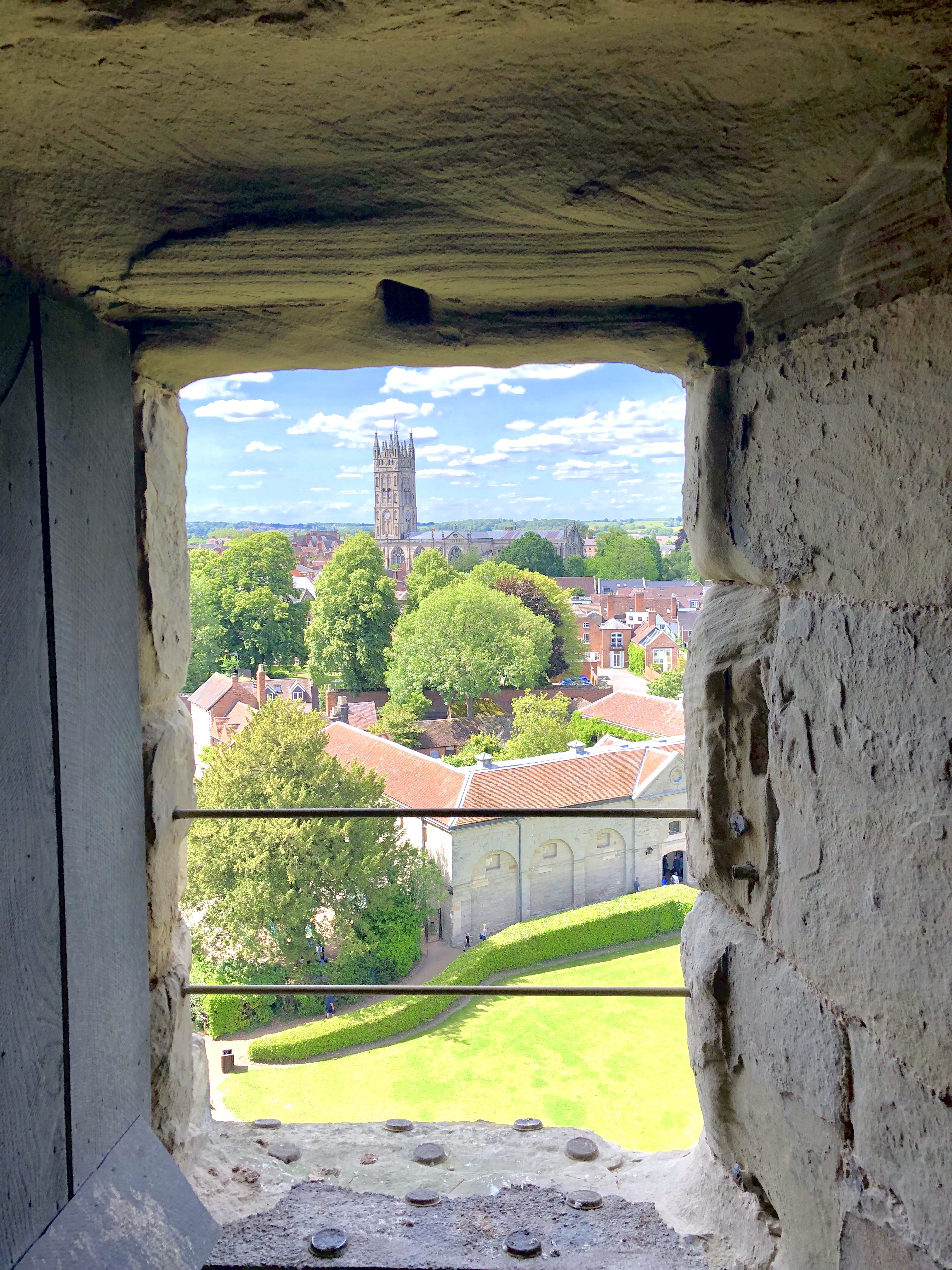 View of Warwick Cathedral from the top of the tower at the castle.