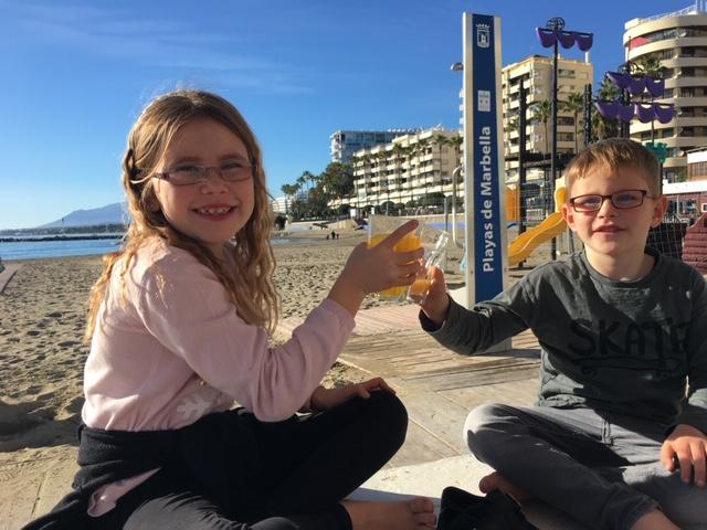 Children at Marbella port spain